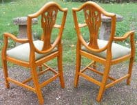 Set of Eight Yew Shield Back Dining Chairs